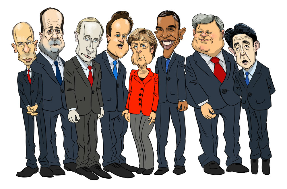 Karikaturtegning G8 leaders